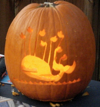 Pumpkin carved with the Twitter Fail Whale