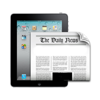 newspaper over tablet computer