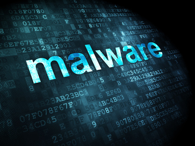 Privacy concept: pixelated words Malware on digital