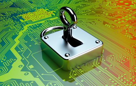 one padlock with electronic circuits on background, concept of computer security (3d render)