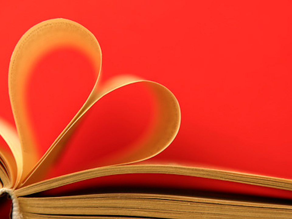Book pages shaped into a heart