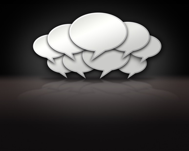 Chat bubbles crowded together on dark background template