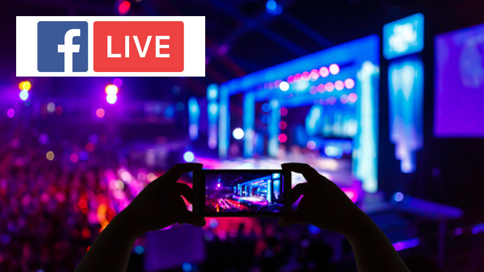 Facebook live logo and someone using the app to stream a concert