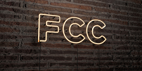 FCC -Realistic Neon Sign on Brick Wall background