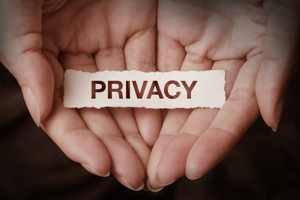 Privacy text on hand design concept