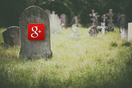 Google+ icon on gravestone