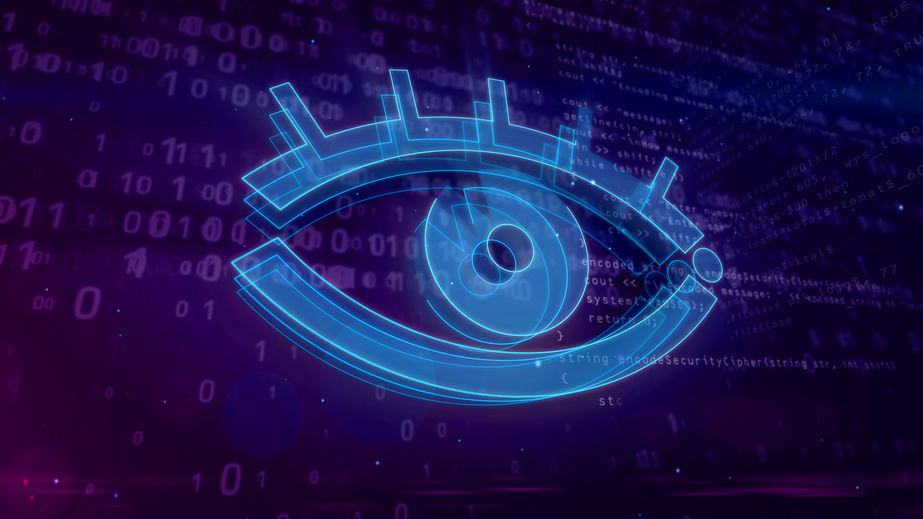 Cyber spying digital concept with spy eye 3D illustration