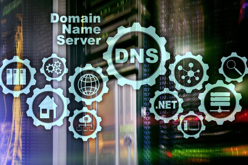 DNS. Domain Name System. Network Web Communication. Internet and digital technology concept