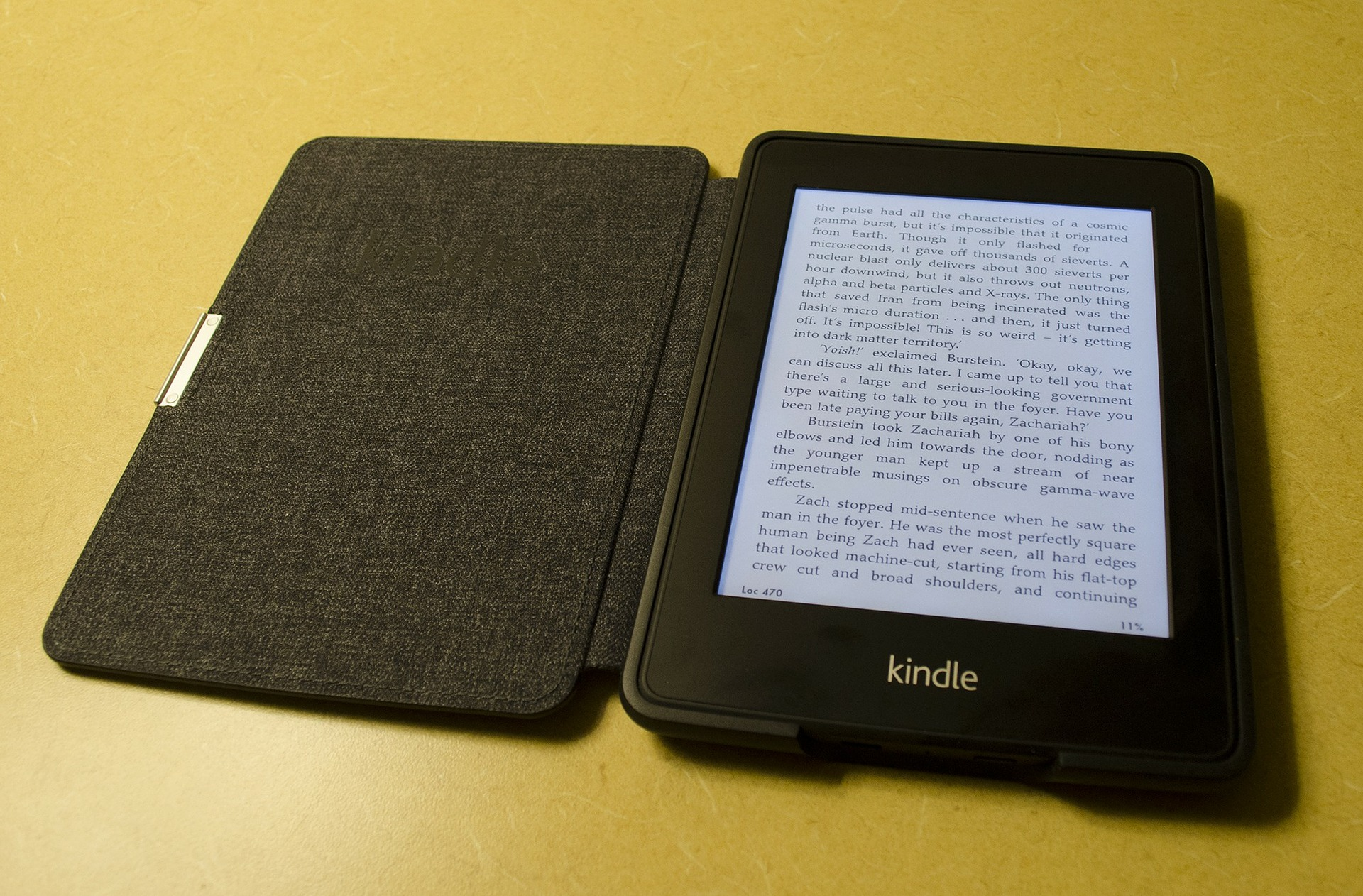 Kindle e-reader open with a book