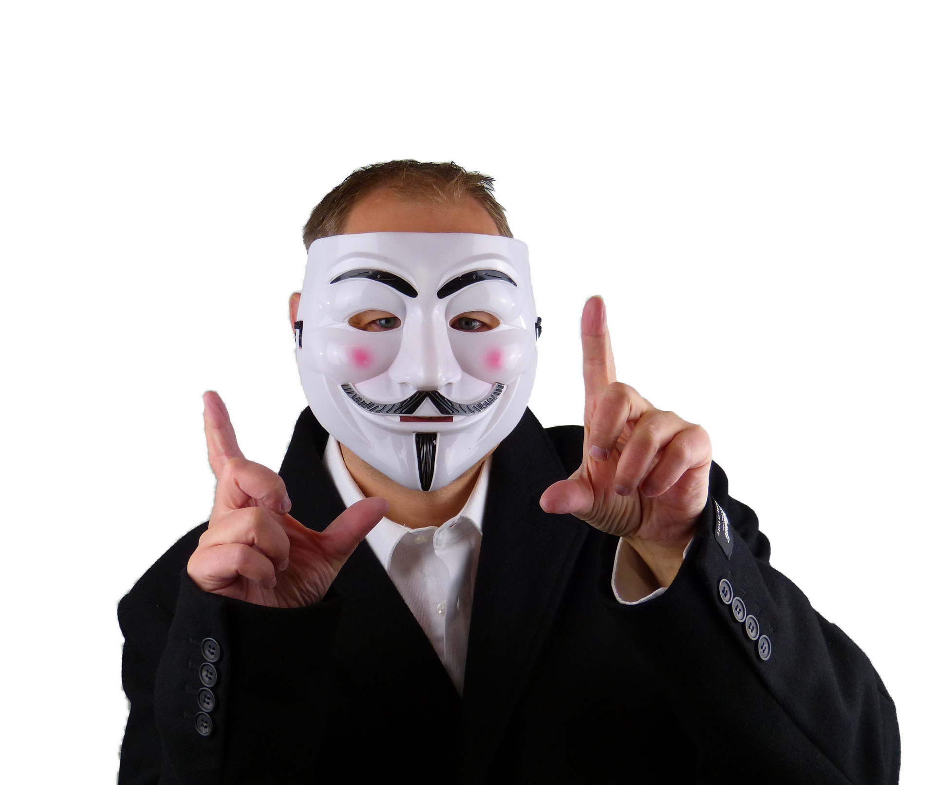 Man in a Guy Fawkes mask pointing upwards with both hands