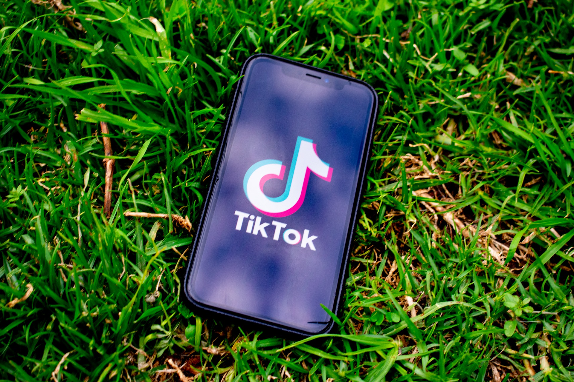 Cell phone showing Tiktok on the grass
