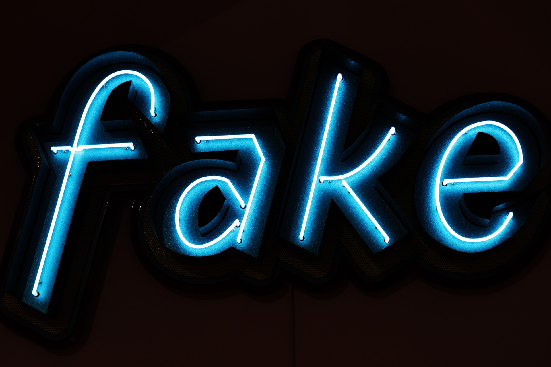Fake in neon letters