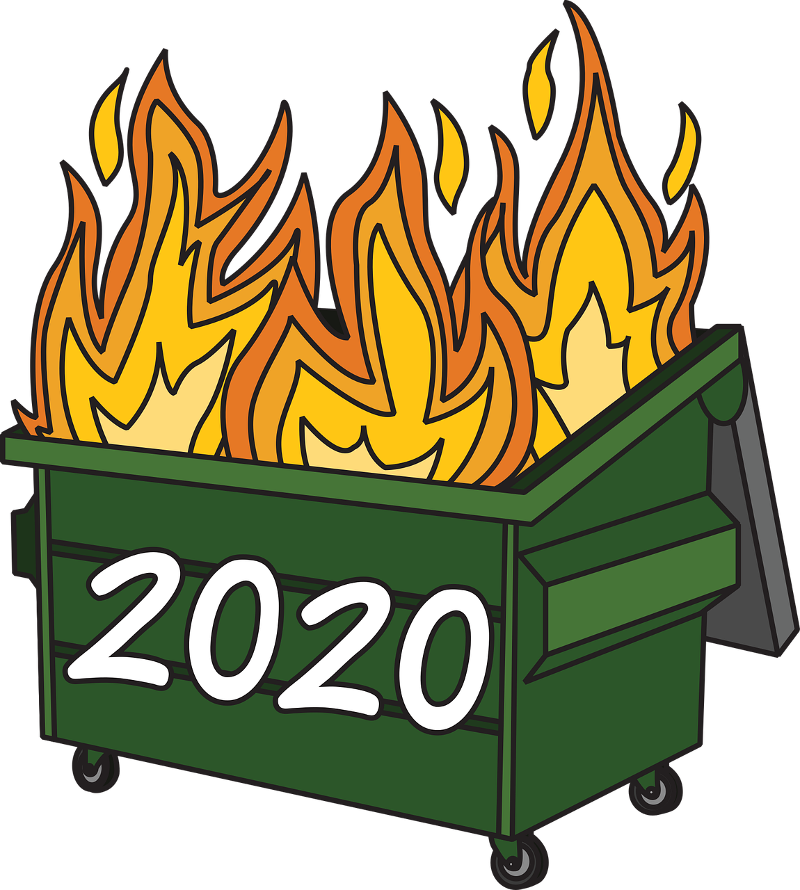 Dumpster on fire with 2020 on the outside