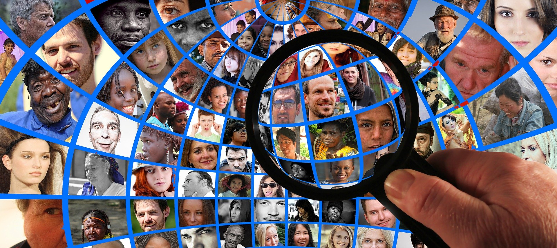 Magnifying glass hovering over a collage of many people