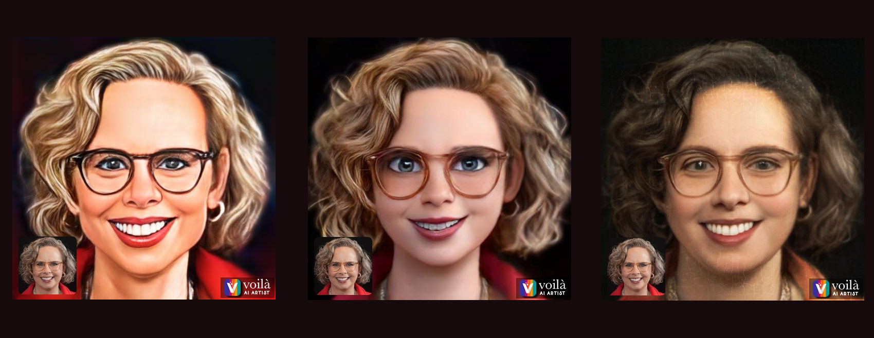 3 versions of Laura Solomon done by the Voila Ai app