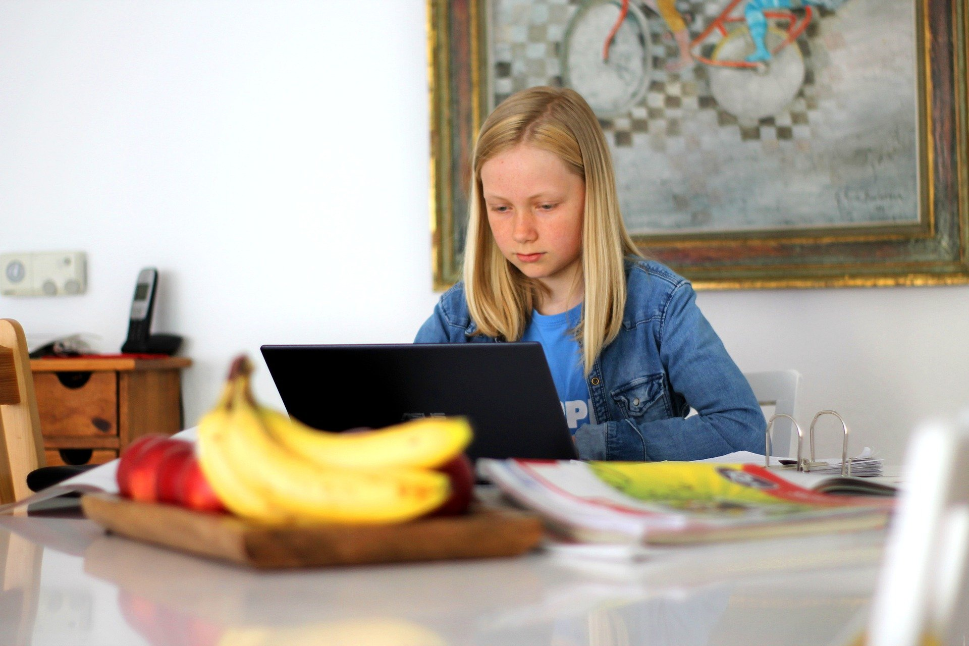 Young girl at kitchen table with open laptop