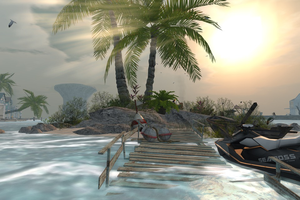 Virtual beach scene with pier and palm trees